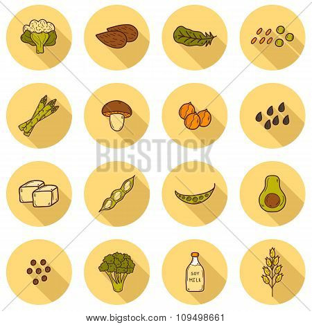 Set of cartoon hand drawn objects on vegan source of protein theme: tofy, soya beans and milk, quinoa, lentil, chia. Healthy vegetarian food concept for your design