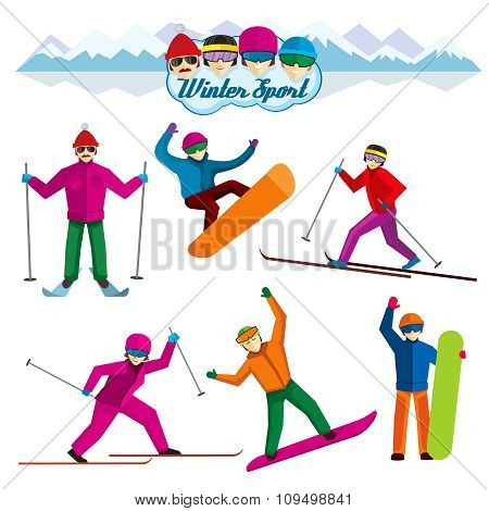 People involved in winter sport. Vector characters flat style