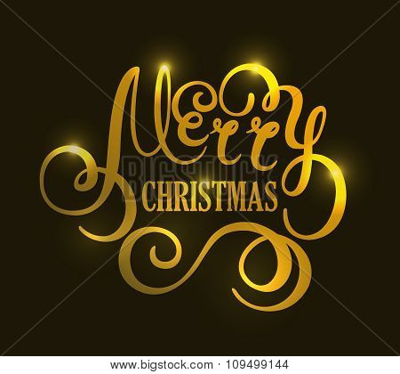 Christmas handwriting gold vector typography