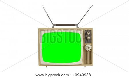 Vintage television on white with antennas and chroma key green screen.