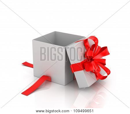 Open White Gift-box With Red Ribbon On A White Background.