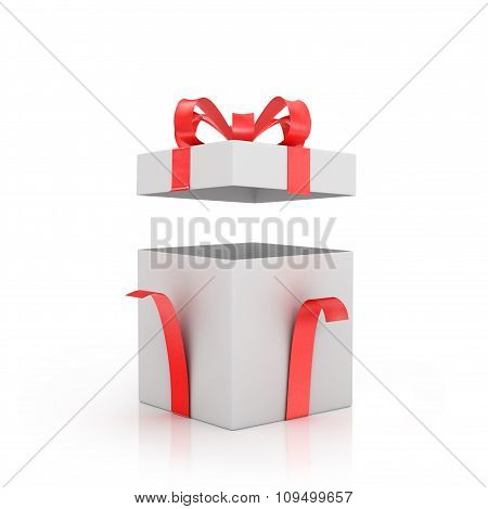 Open White Gift-box With Red Bow And Red Ribbon.