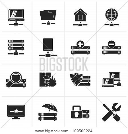 Black server, hosting and internet icons