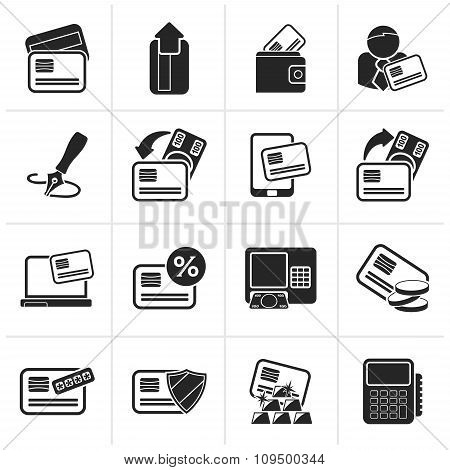 Black credit card, POS terminal and ATM icons