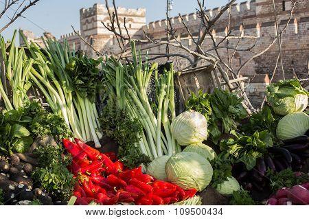 city walls and produce market