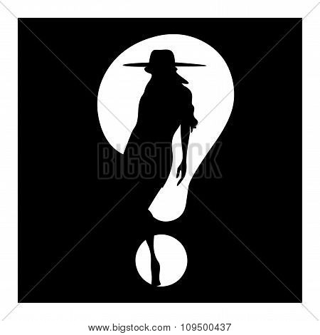 Question Mark Woman Silhouette Symbol Isolated On White
