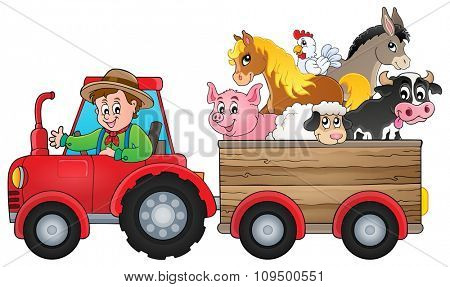 Tractor theme image 2 - eps10 vector illustration.