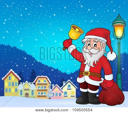 Santa Claus with bell theme image 3 - eps10 vector illustration.