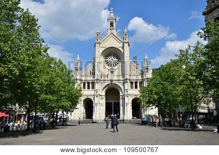 Brussels, Belgium - May 12, 2015: Peoples Visit Saint Catherine Church In Brussels
