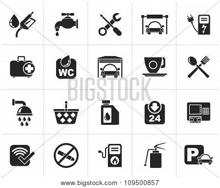 Black petrol station icons