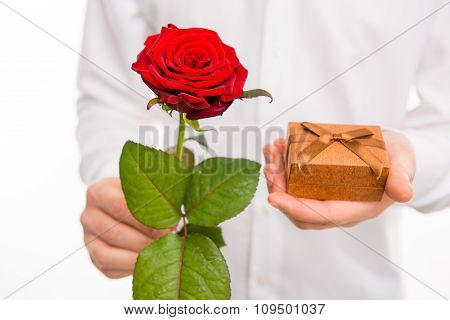 Closeup Photo Of A Romantic Handsome Man With A Red Rose And Present