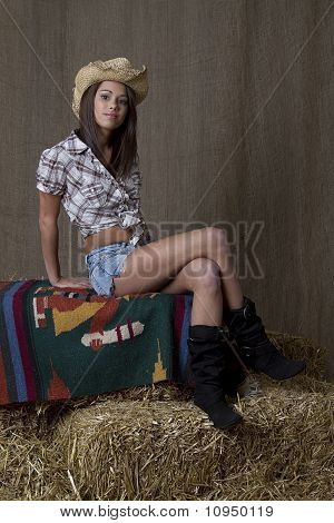 Cowgirl Sitting On Bail
