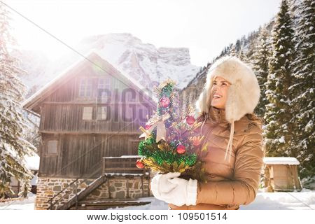Woman With Christmas Tree Standing In Front Of Mountain House