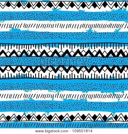 Seamless Bright Ethnic Background In Black, Blue And White Stripes.