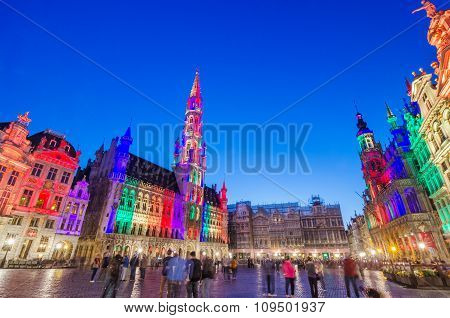 Brussels, Belgium - May 13, 2015: Tourists Visiting Famous Grand Place Of Brussels.