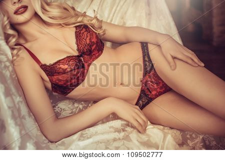 Womanly beautiful blonde girl in sexy underclothes