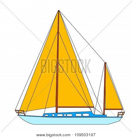 Sailing boat floating.