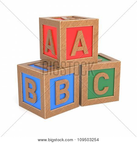 Abc Building Old Wooden Blocks On White Background
