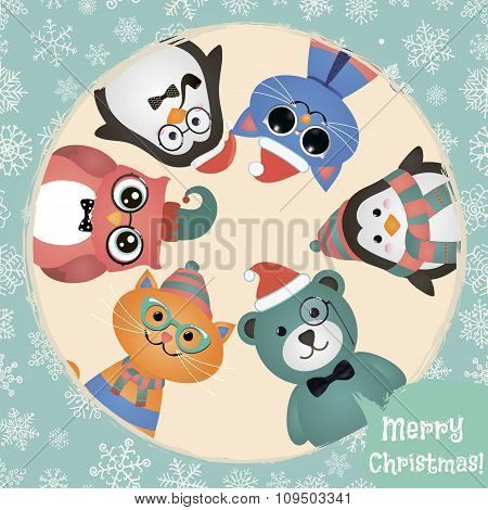 Hipster Fashion Retro Animals and Pets Christmas Background