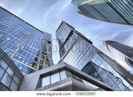 Perspective of modern towers of Moscow city, Russia