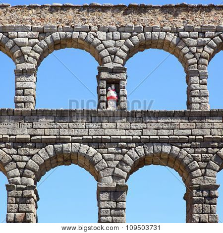 Antique aqueduct in Segovia, Spain