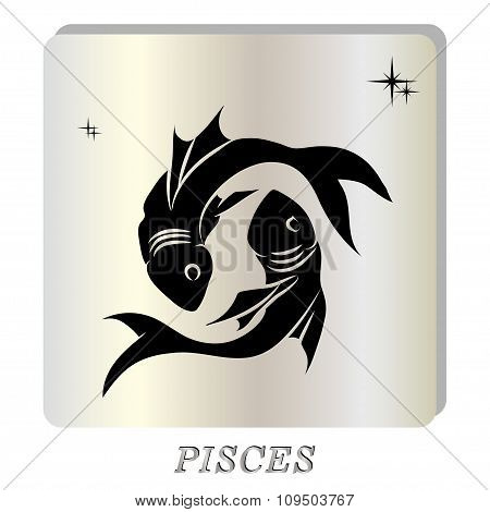 black silhouette of  pisces are on pearl background.