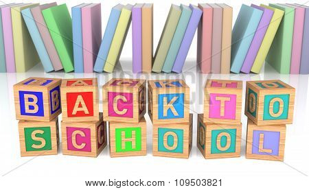 Colorful Back To School Wooden Toy Blocks With Group Of Book Over White Background