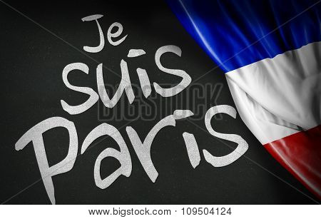 Je Suis Paris (french: I am Paris) and the French flag