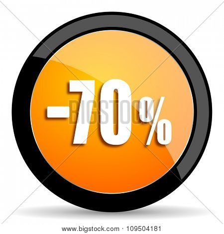 70 percent sale retail orange icon