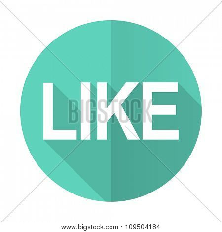 like blue web flat design circle icon on white background