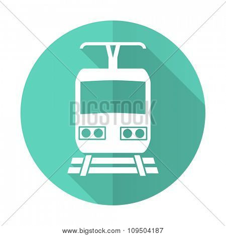 train blue web flat design circle icon on white background