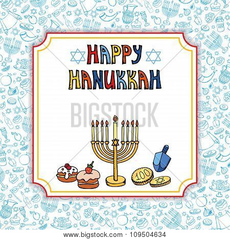 Hanukkah greeting card.Doodle Israel Holiday symbols