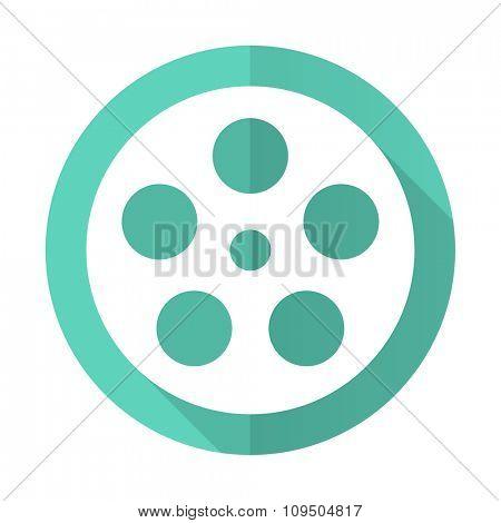 film blue web flat design circle icon on white background