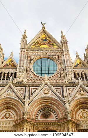 Partial facade view  of Siena Cathedral,  Italy