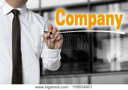 Company Is Written By Businessman Background Concept