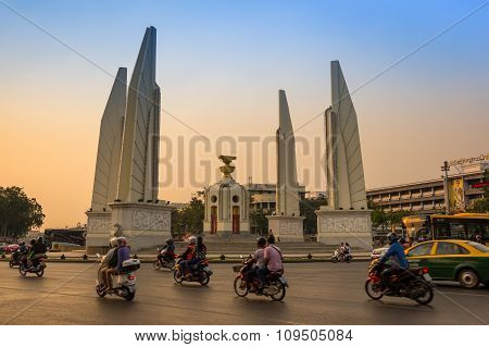 Democracy Monument In The Centre Of Bangkok