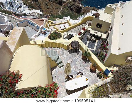 Romantic Beautiful Cityscape And Blue Sky Of Oia On Santorini In Greece.
