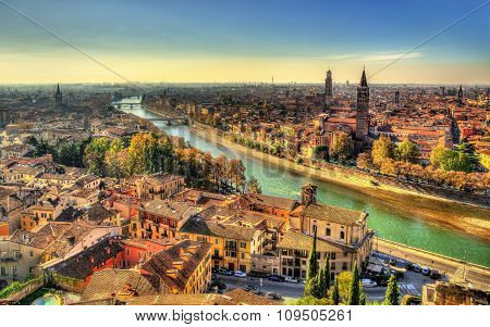 Panorama Of Verona In The Morning Haze - Italy