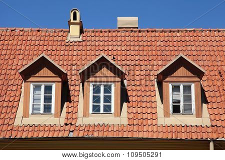 Red Tile Roof Of Old House