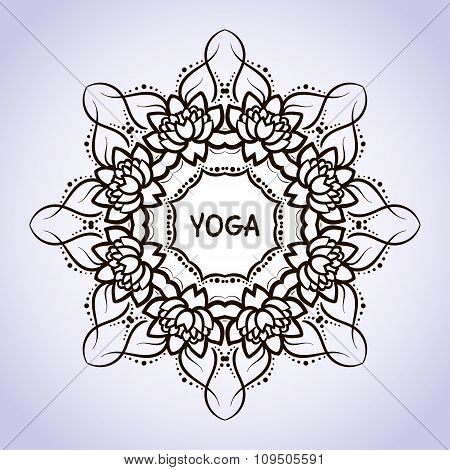 Lotus flower circular pattern line on isolated background. Logo for Yoga Studio, Spa, India style. V