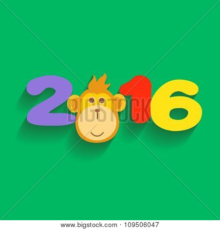 Happy New Year 2016 with Monkey Flat Design Illustration