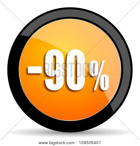 90 percent sale retail orange icon