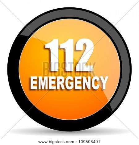 number emergency 112 orange icon