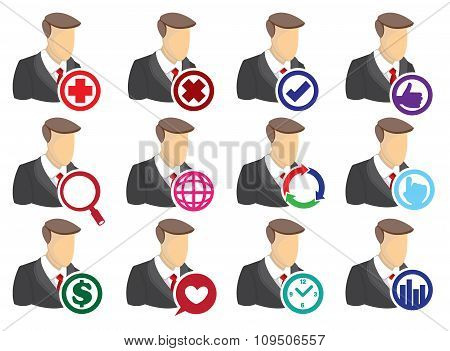 Businessman With Internet Vector Icons