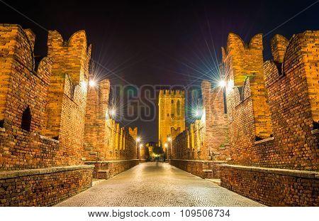 On The Castelvecchio Bridge In Verona - Italy