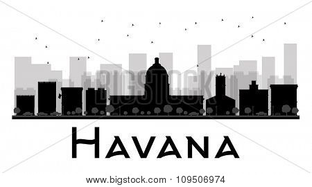 Havana City skyline black and white silhouette. Vector illustration. Simple flat concept for tourism presentation, banner, placard or web site. Business travel concept. Cityscape with famous landmarks