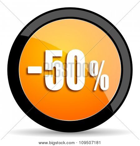 50 percent sale retail orange icon