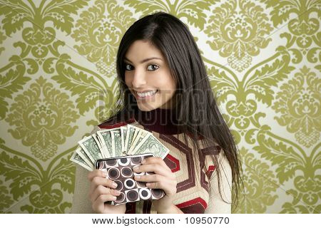 Retro Purse Dollar Woman Vintage Wallpaper
