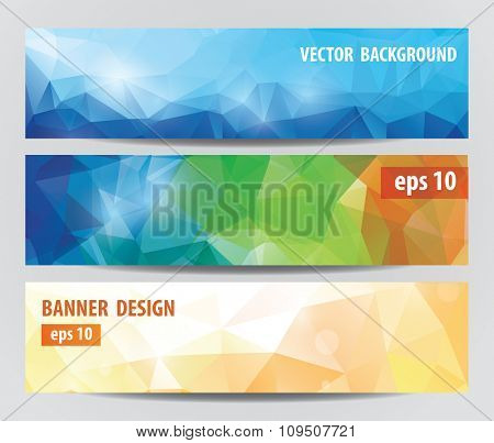 vector banners with polygonal background