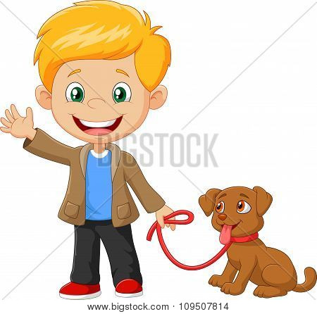 Little boy with his dog isolated on white background